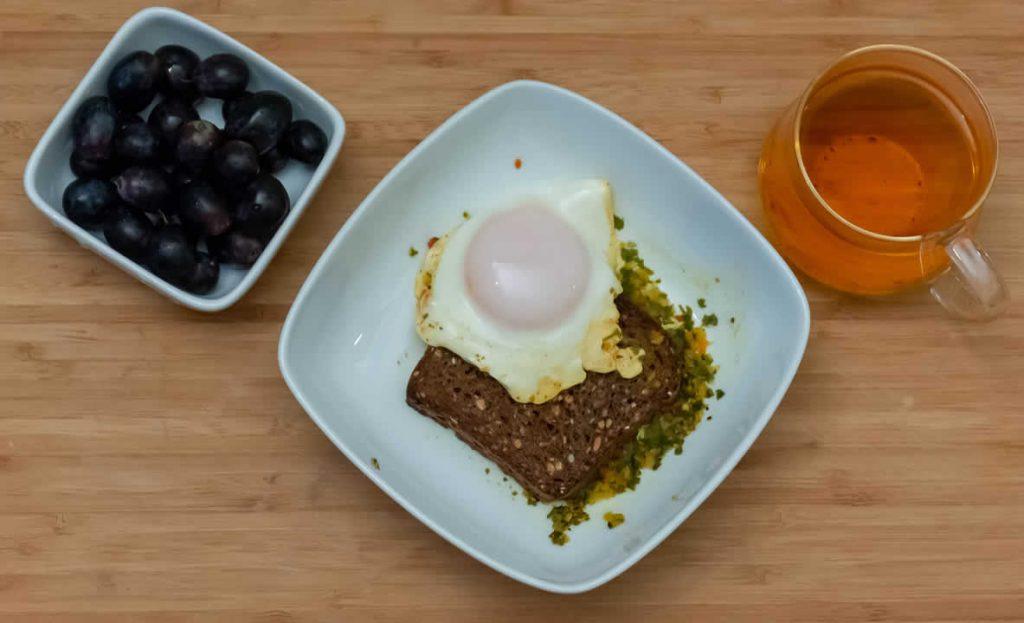 Breakfast grapes egg toast & black tea