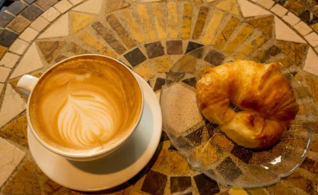 Latte and Croissant at Cool Beans